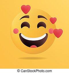 Vector illustration. Emoticon fall in love.