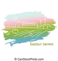 Vector illustration energy-efficient construction.