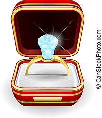 engagement rings in gift box - Vector illustration...