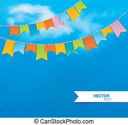 Blue sky with colorful flags