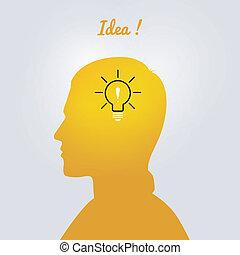 Man's head with bulb
