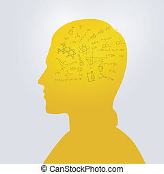 Man's head with education doodle - Vector illustration (eps...
