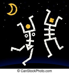 Vector illustration eps10. Moon dancers skeletons of man and woman.