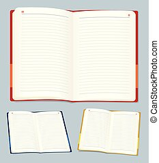 Vector illustration eps10. Open notebook in various positions and colors.