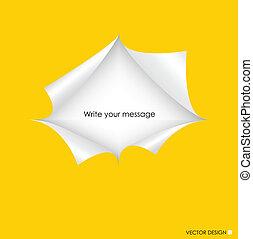 vector, illustration., espacio, rasgado, text., papel