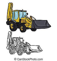 Excavator Loader - Vector illustration : Excavator Loader on...