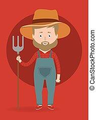 Vector illustration. Farmer man.