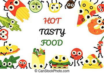 Vector illustration fast food banner with border frame of various meals and vegetables cartoon characters.