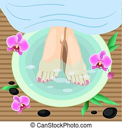 Vector Illustration Female feet at spa pedicure procedure. Legs, flowers and stones