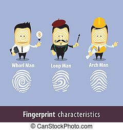 Fingerprint Man Characteristics - Vector illustration -...