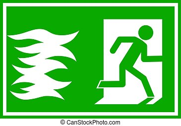 vector illustration - fire emergency exit sign, person escaping flames through a door