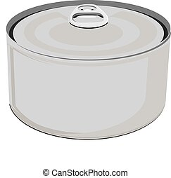 Vector illustration fish conserve. Tin can. Blank aluminum can