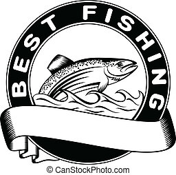 Vector illustration fish trout and inscription on circle best fishing