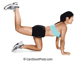 Vector Illustration Fitness Woman