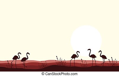 Vector illustration flamingo scene silhouettes