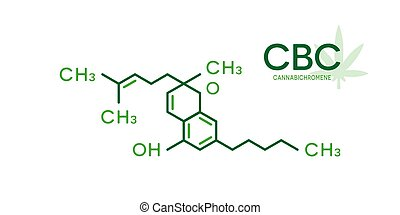 CBC molecular formula. Cannabichromene molecule structure on...