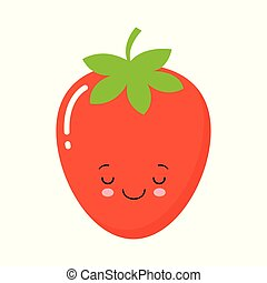Vector Illustration Flat Strawberry Cute Character isolated on white background