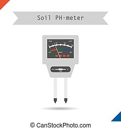 Icon pH meter for soil - Vector illustration. Flat style....