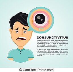 Vector illustration flat suffering young man with a...