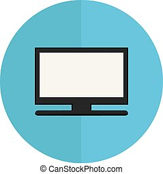 Vector illustration flat television icon with circle on white background