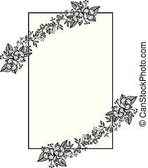 Vector illustration flower frames isolated on white background for design of card