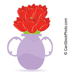vector illustration flowers in vase