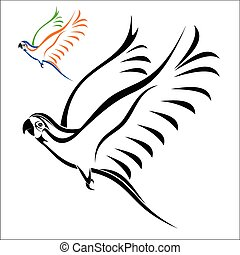 Vector illustration : Flying parrot on a white background.