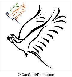 Flying parrot - Vector illustration : Flying parrot on a...