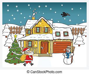 Christmas card - Santa Claus brings