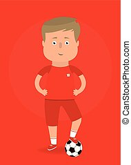 Vector illustration. Football player with ball.