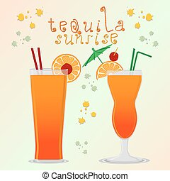 Vector illustration for alcohol cocktail tequila sunrise