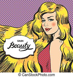 Vector illustration for beauty salon, retro pop art comic style