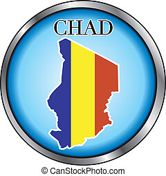 Vector Illustration for Chad, Round Button.