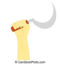 Vector Illustration for Criminal, Hand Holding Clurit, Madura, Indonesia Traditional Weapon