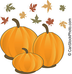 Vector Illustration for Fall Autumn Leaves and Pumpkins.