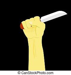 Vector Illustration for Murder, Hand Holding Knife at Black Background