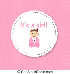 Vector Illustration for Newborn Girl