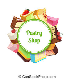 Vector illustration for pastry shop or confectionary with...