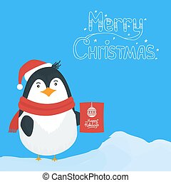 Snow landscape background with penguin
