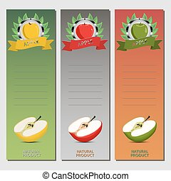 Vector illustration for ripe fruit colorful apples
