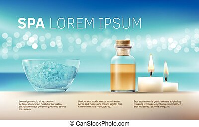 Vector illustration for spa treatments with aromatic salt , massage oil, candles.