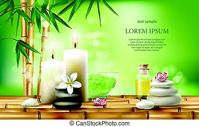 Vector illustration for spa treatments with aromatic salt , ...