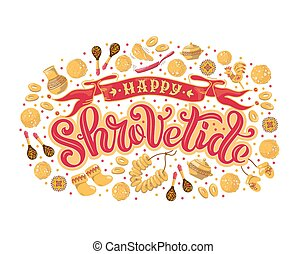 Vector illustration for the traditional festival Shrovetide. Hand-drawn lettering for cards, banners, posters, and any type of artwork for the holiday Carnival.