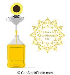 Vector illustration for yellow bottle sunflower oil, plastic jar with black seeds