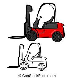 Vector illustration : Forklifts sketch on a white background.