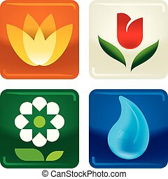 Four flowers and water drop icons in shiny style.