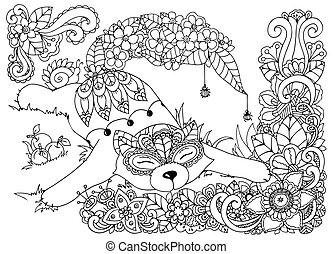 Vector illustration , Fox, in the flowers. Doodle drawing...