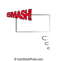 Vector illustration. Frame template in comic pop art style isolated on white background. Comic bubble speech with text SMASH.