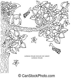 Vector illustration frame with flowers zen tangl tree. Dudlart. Coloring book anti stress for adults. page. Black white.