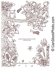 Vector illustration frame with flowers zen tangl tree. Dudlart. Coloring book anti stress for adults. Coloring page. Brown white.